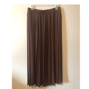Love and Legend Brown Pleated Midi Skirt